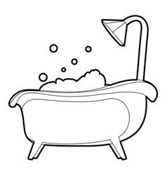 bath icon outline vector image