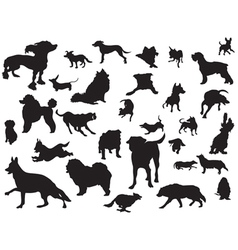 Dogs silhouette set vector
