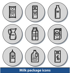 light milk package icons vector image