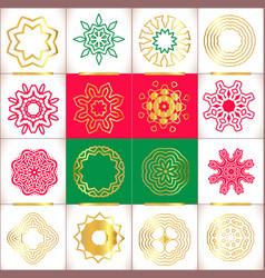set of snowflakes hand drawn stars vector image