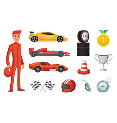 sport cars and different racing icons set engine vector image vector image