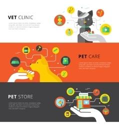 Veterinary Horizontal Banners vector image vector image