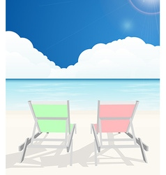 Deck chairs on beach vector image vector image