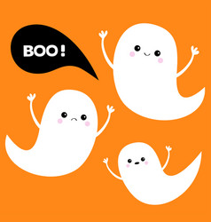 flying ghost spirit set three scary white ghosts vector image vector image