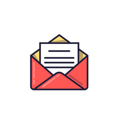 open envelope with the document email icon vector image