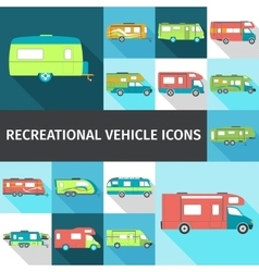 Recreational Vehicle Flat Icons vector image vector image