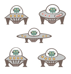 Robot characters in spaceship vector image vector image