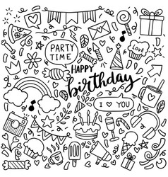 0023 hand drawn party doodle happy birthday vector