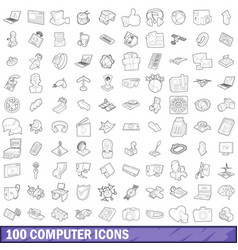 100 computer icons set outline style vector