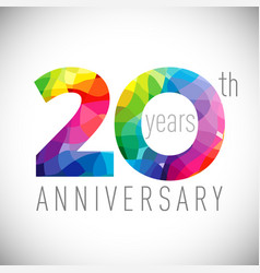 20 th anniversary facet years multicolored vector