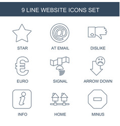 9 website icons vector image