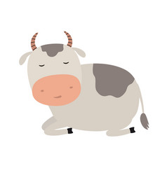 a funny cow is asleep for vector image