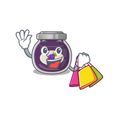 A happy rich grape jam waving and holding vector