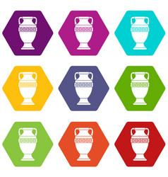 ancient jug icon set color hexahedron vector image