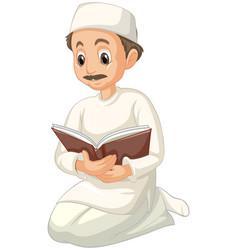 Arab muslim man in traditional clothing vector