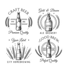 artisanal craft beer labels vector image