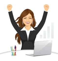 Attractive happy businesswoman celebrating vector