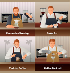barista and coffee concept icons set vector image