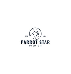 Bird parrot head line with star logo design vector