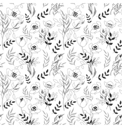 Black and white pattern poppies cute seamless vector