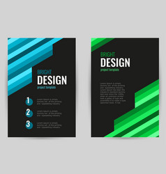 bright brochure with green and blue stripes vector image