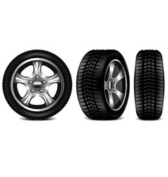 Car tire 3 views isolated on white vector