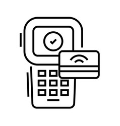card payment line icon concept sign outline vector image