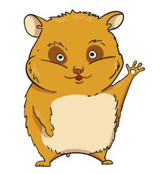 cartoon image of waving hamster vector image