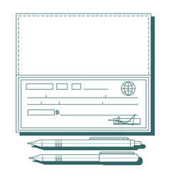 cheque book on white background vector image