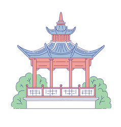 chinese gazebo building architectural vector image