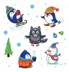 christmas penguin set vector image