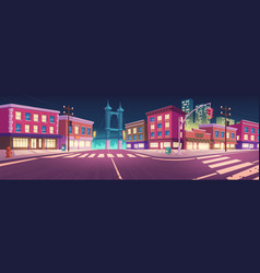 City street with houses and overpass road at night vector