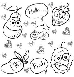 Collection stock of fruit hand draw doodles vector