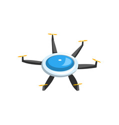 Colorful flat icon of flying drone air vector