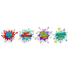 comic bright 3d banners collection vector image