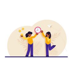 Concept time or money work-life balance woman vector