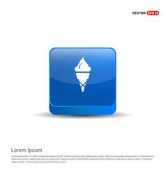 cone ice cream icon - 3d blue button vector image