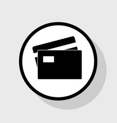 credit card sign flat black icon in white vector image