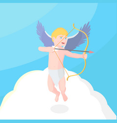 cupid in the sky holds a bow vector image