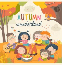cute friends sitting around bonfire in autumnal vector image