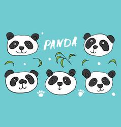 cute panda bear doodles set animals sketch vector image