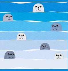 cute sea lion in blue ocean vector image