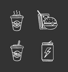 drinks chalk icons set vector image
