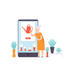 elderly woman buying a watering can from an online vector image