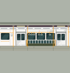 empty subway train inside view metro carriage vector image