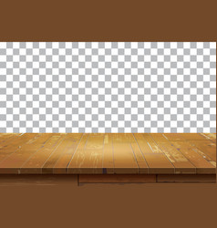 empty wooden table top isolated background vector image