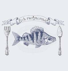 Fish restaurant banner with crucian carp vector