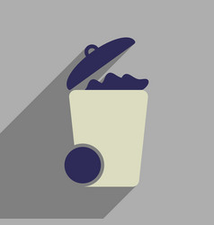Flat web icon with long shadow trash can vector