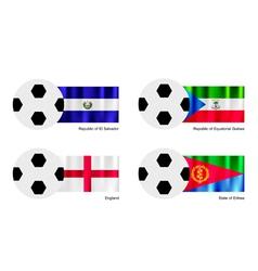 Football with El Salvador Equatorial Guinea Flag vector image