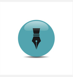 Fountain pen icon on a blue bubble with shadow vector